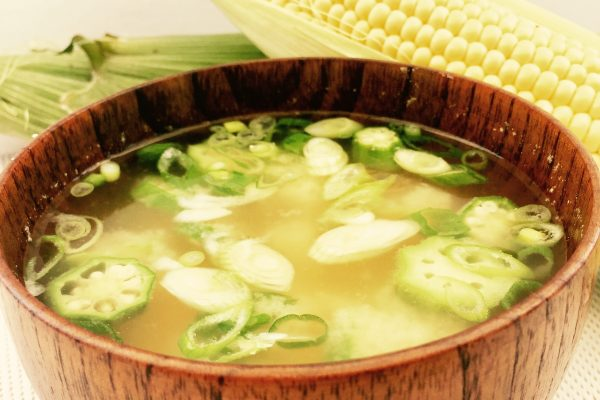 Summery Miso Soup with Corn and Okra